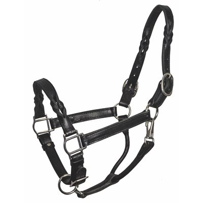 COB BLK TWISTED LEATHER HALTER