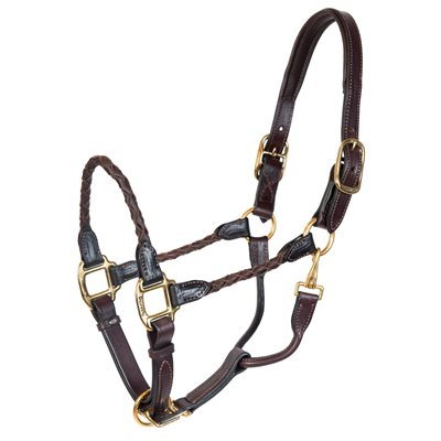 OS HAVANA BRAIDED LEATHER HALTER