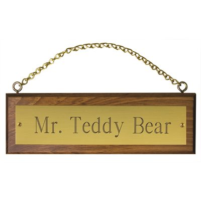 WOODEN STALL SIGN W / BRASS PLATE & CHAIN