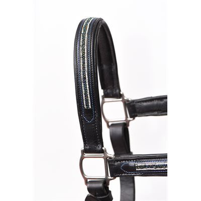 HORSE MULTI BLING BLACK PADDED HALTER W / STAINLESS STEEL HARDWARE