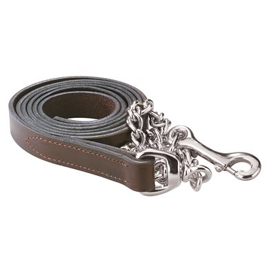 HAVANA LEATHER LEAD WITH SILVER CHAIN