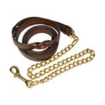 TWISTED HAVANA LEATHER LEAD W / BRASS PLATED CHAIN