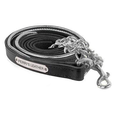 BLACK / SILVER METALLIC PADDED LEATHER LEAD W / PLATE