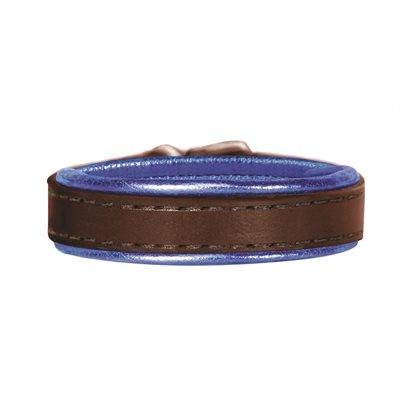 HAVANA / METALLIC BLUE PADDED LEATHER BRACELET