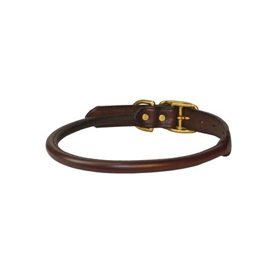 EXTRA SMALL HAVANA ROLLED LEATHER DOG COLLAR