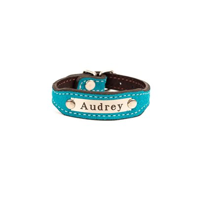 TURQUOISE SUEDE BRACELET W / PLATE