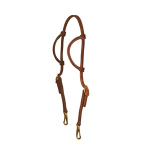 DOUBLE EAR HEADSTALL WITH SNAPS - HORSE MEDIUM OIL