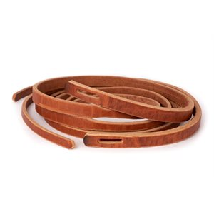 8' SLOT TAPERED HARNESS LEATHER WESTERN REINS